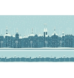 old winter town with snow vector image