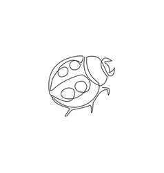 one continuous line drawing cute ladybug vector image