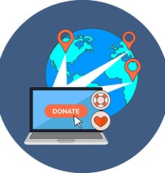 Online charity donate concept Flat design Icon in vector