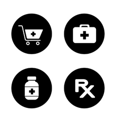 Online pharmacy black icons set vector