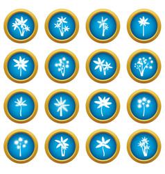 palm tree icons blue circle set vector image