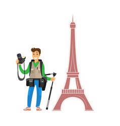 photographer holding camera male shooting paris vector image