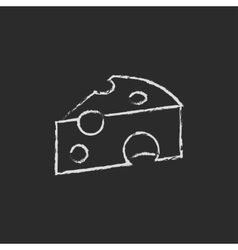 Piece of cheese icon drawn in chalk vector image