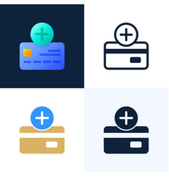 plus button and credit card stock icon set vector image