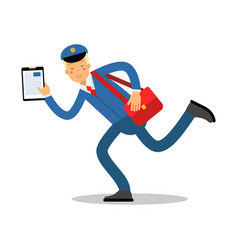 Postman in blue uniform with red bag and clipboard vector