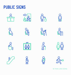 Public signs thin line icons set vector