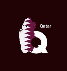 qatar initial letter country with map and flag vector image