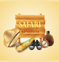 Safari travel accessories background vector