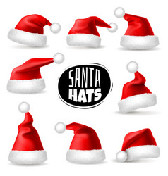 santa claus hats 3d realistic red christmas vector image