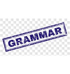 Scratched grammar rectangle stamp vector