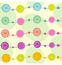 seamless pattern with garland of lollipop vector image