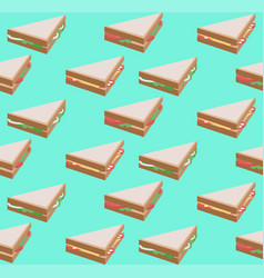 seamless texture with isometric flat sandwich vector image