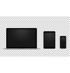 set black laptop tablet and phone all single vector image