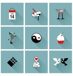 set flat design icons for valentines day vector image