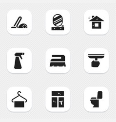 set of 9 editable cleaning icons includes symbols vector image
