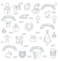 Set of christmas hand draw doodle element vector image