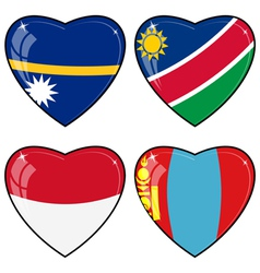 Set of images of hearts with the flags of Nauru vector image
