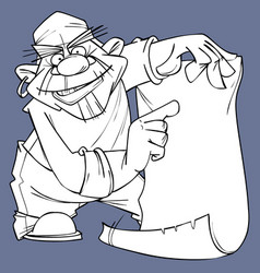 sketch of cartoon pirate pointing at blank card vector image