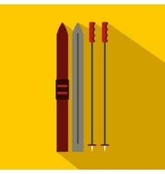 Ski icon flat style vector