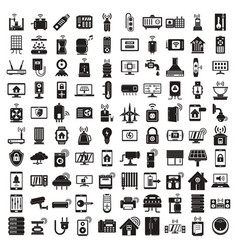smart home icons set simple style vector image