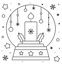 snow globe with a candle coloring page black and vector image