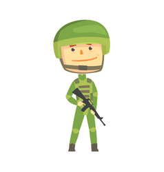 Soldier character in camouflage uniform with vector