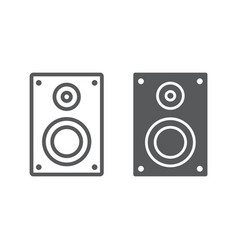 sound speaker line and glyph icon electronic vector image