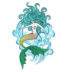 Swimming mermaid vector