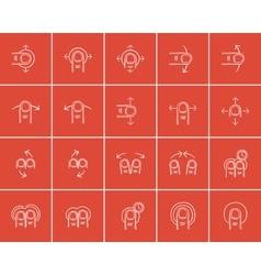 Technology sketch icon set vector