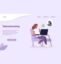 Telecommuting or work from home concept vector
