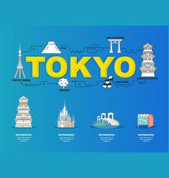 Tokyo sightseeing tour with landmark icons vector