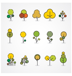 Trendy and beautiful set of flat trees and forest vector image