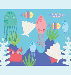 Under sea jellyfish shell crab fish algae vector
