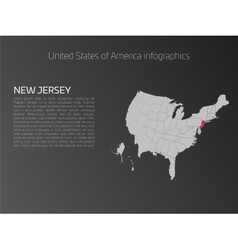 USA map infographics template with highlighted New vector