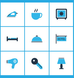 Vacation icons colored set with hotel sign safe vector