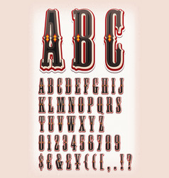 vintage circus and western abc font vector image vector image