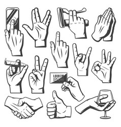 Vintage hands collection vector
