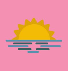 Wavy sea sunset or sunrise vector