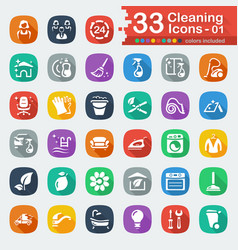 White flat cleaning icons vector
