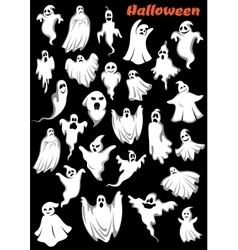 White flying monsters ghouls and ghosts vector
