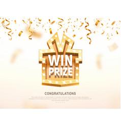 Win prize gift box with golden retro board vector