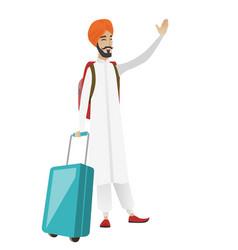 Young hindu traveler waving his hand vector