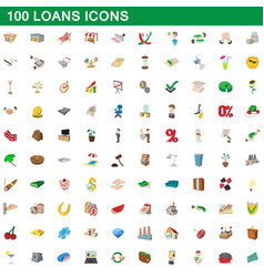 100 loans icons set cartoon style vector image vector image