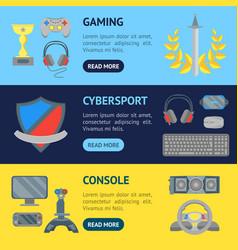 cartoon cyber sport banner horizontal set vector image vector image