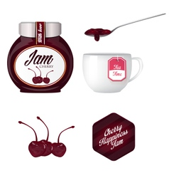 Cherry jam and a cup of tea vector image vector image