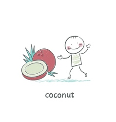 Coconut and people vector image vector image