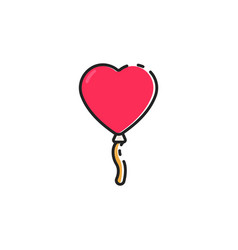 flat color love balloon icon vector image
