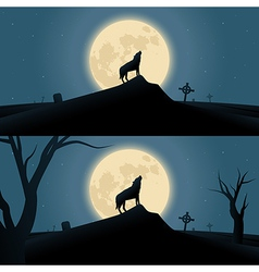 Halloween background with howling werewolf vector image vector image