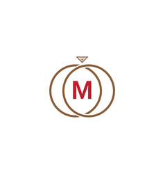 m letter ring diamond logo vector image vector image