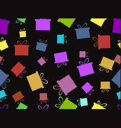 seamless pattern with gift boxes multicolor vector image vector image